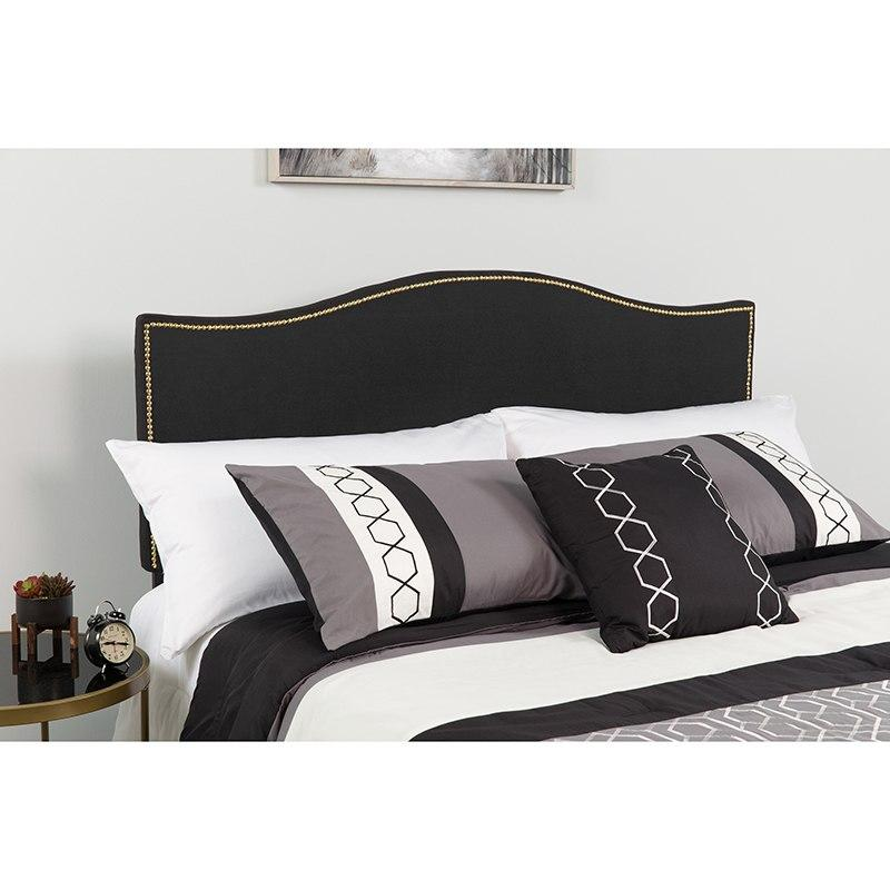 Flash Furniture HG-HB1707-Q-BK-GG Lexington Upholstered Queen Size Headboard with Accent Nail Trim in Black Fabric
