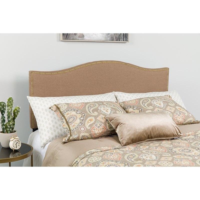 Flash Furniture HG-HB1707-Q-C-GG Lexington Upholstered Queen Size Headboard with Accent Nail Trim in Camel Fabric