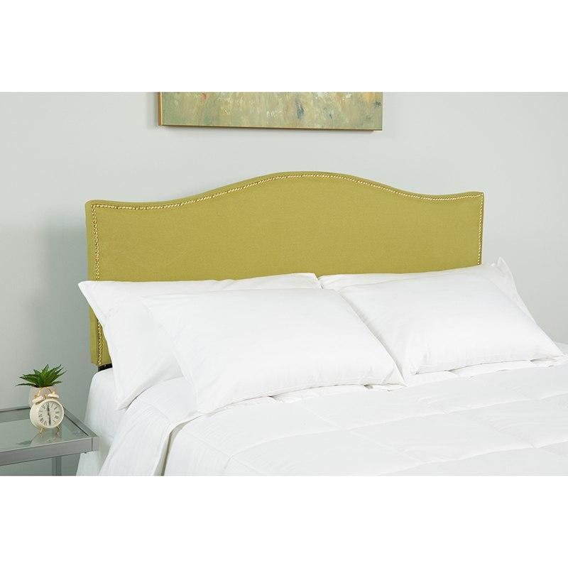 Flash Furniture HG-HB1707-Q-G-GG Lexington Upholstered Queen Size Headboard with Accent Nail Trim in Green Fabric