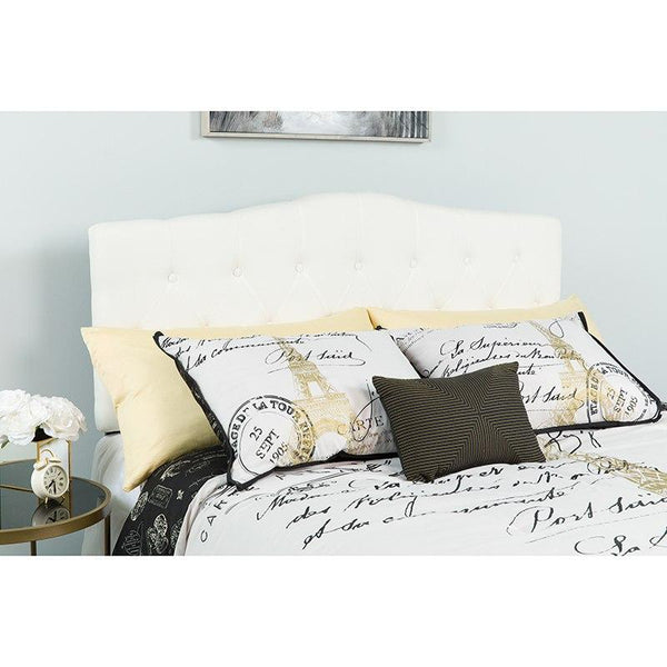 Flash Furniture HG-HB1708-Q-W-GG Cambridge Tufted Upholstered Queen Size Headboard in White Fabric