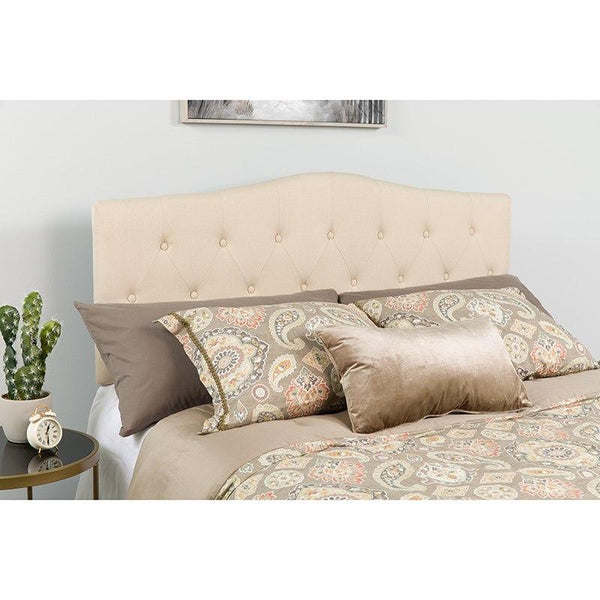 Flash Furniture HG-HB1708-T-B-GG Cambridge Tufted Upholstered Twin Size Headboard in Beige Fabric