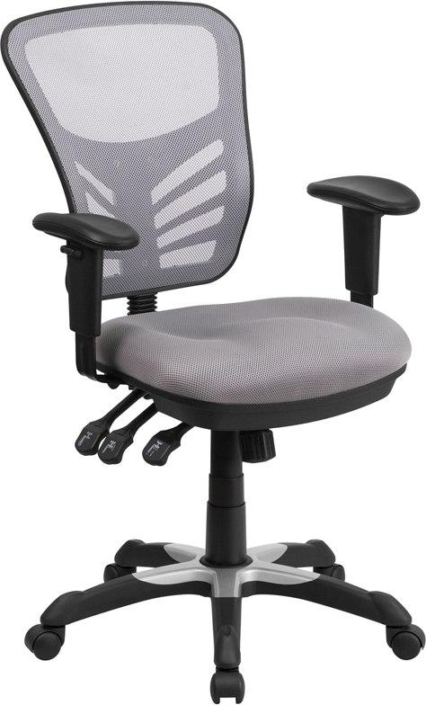 Flash Furniture HL-0001-GY-GG Mid-Back Gray Mesh Multifunction Executive Swivel Chair with Adjustable Arms