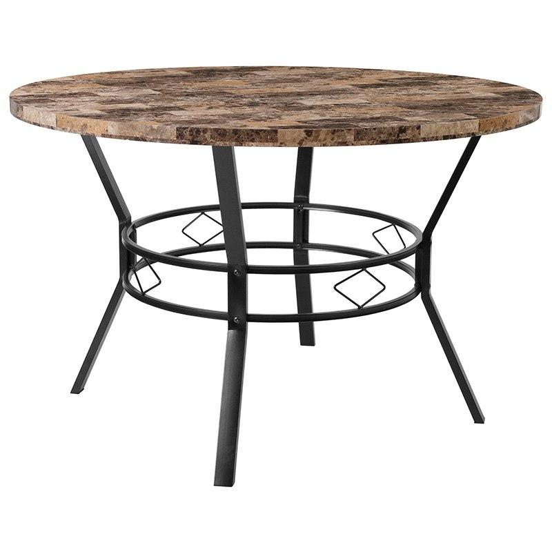 "Flash Furniture HS-D03003TR-M001-47-GG Tremont 47"" Round Dining Table in Swirled Marble-Like Finish"