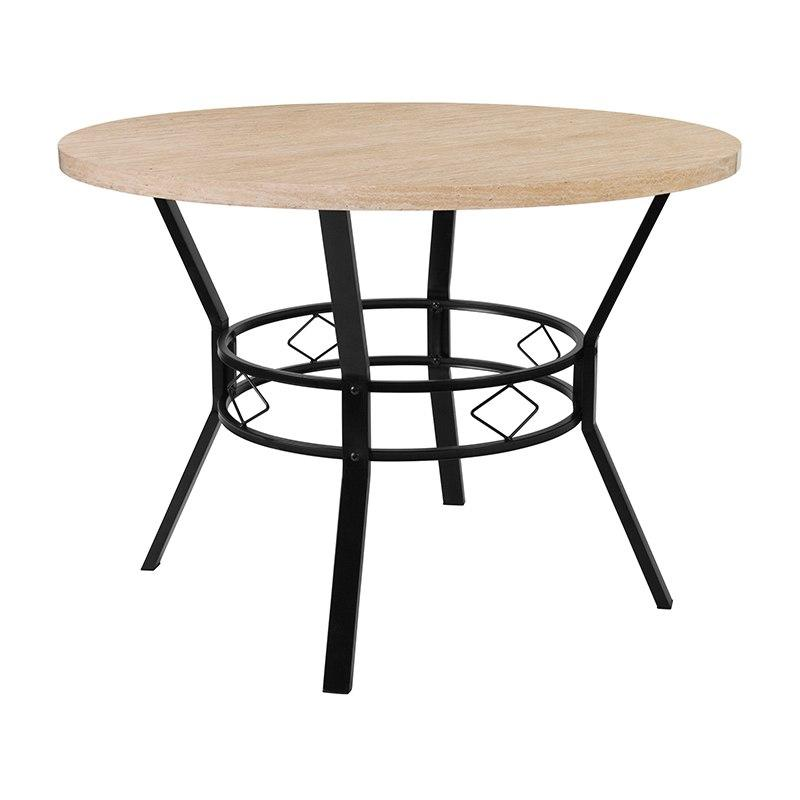 "Flash Furniture HS-D03003TR-M005-42-GG Tremont 42"" Round Dining Table in Bleached Sandstone-Like Finish"