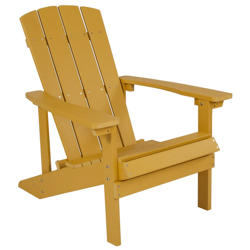 Flash Furniture JJ-C14501-YLW-GG Charlestown All-Weather Adirondack Chair in Yellow Faux Wood