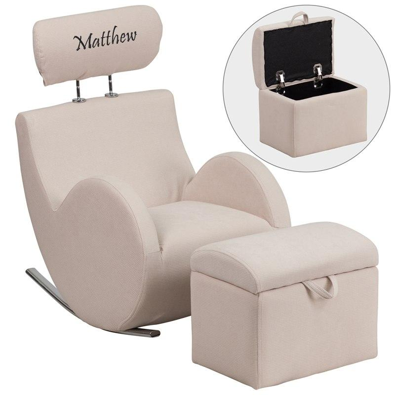 Flash Furniture LD-2025-BG-TXTEMB-GG Personalized HERCULES Series Beige Fabric Rocking Chair with Storage Ottoman