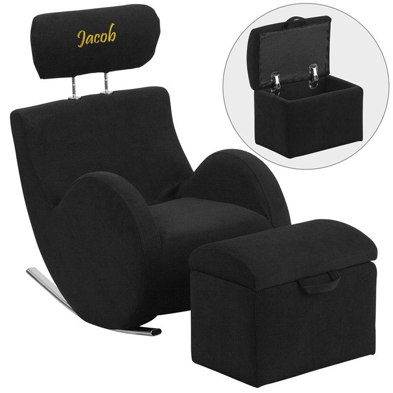 Flash Furniture LD-2025-BK-TXTEMB-GG Personalized HERCULES Series Black Fabric Rocking Chair with Storage Ottoman