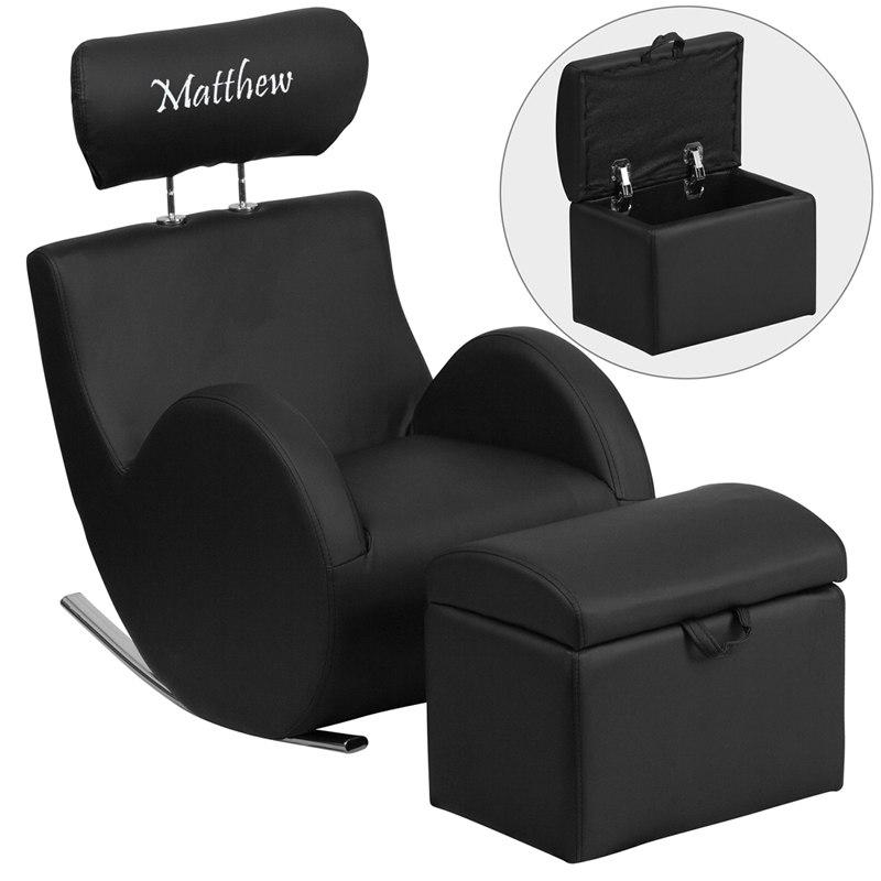 Flash Furniture LD-2025-BK-V-TXTEMB-GG Personalized HERCULES Series Black Vinyl Rocking Chair with Storage Ottoman