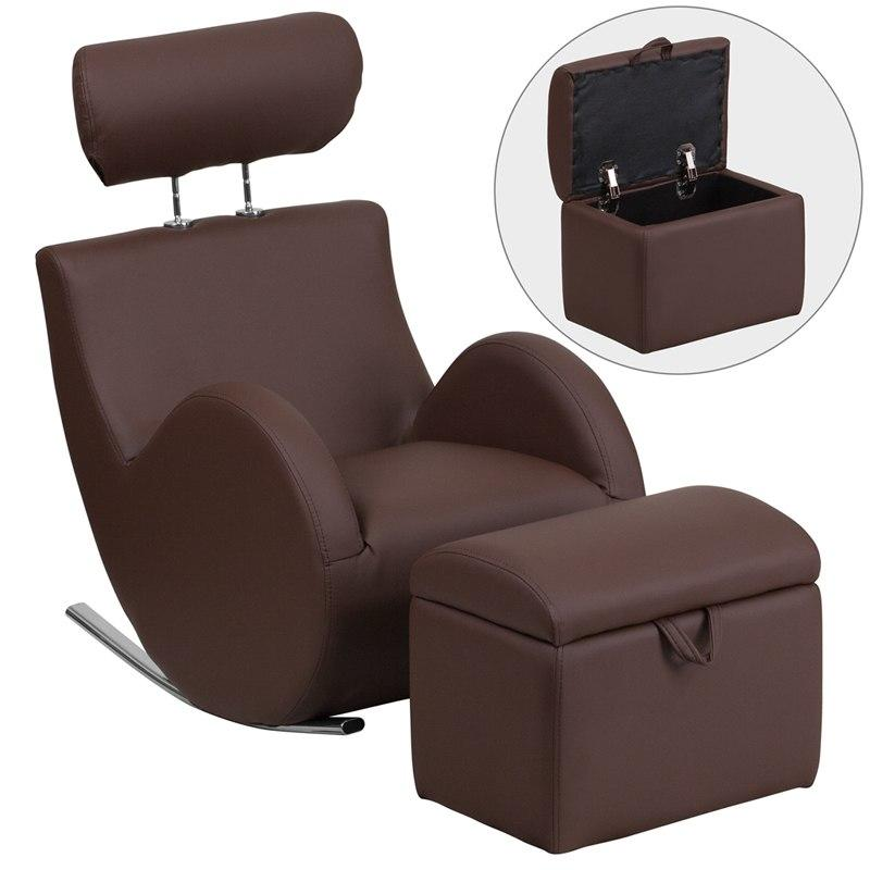 Flash Furniture LD-2025-BN-V-GG HERCULES Series Brown Vinyl Rocking Chair with Storage Ottoman