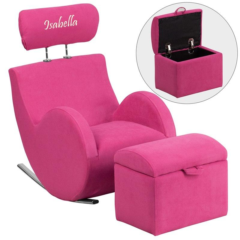 Flash Furniture LD-2025-PK-TXTEMB-GG Personalized HERCULES Series Pink Fabric Rocking Chair with Storage Ottoman