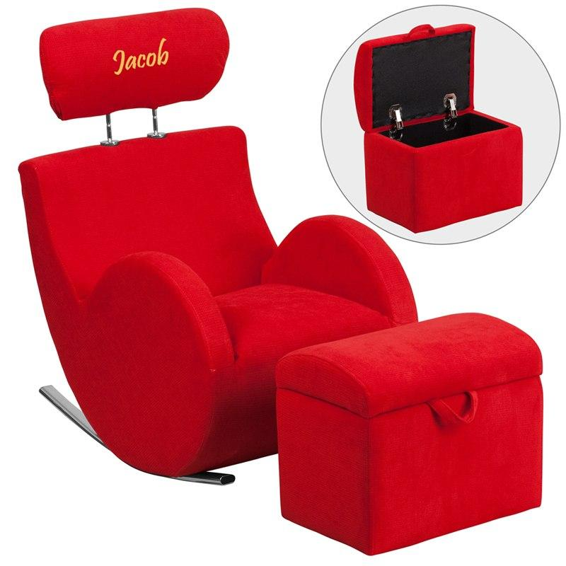 Flash Furniture LD-2025-RD-TXTEMB-GG Personalized HERCULES Series Red Fabric Rocking Chair with Storage Ottoman