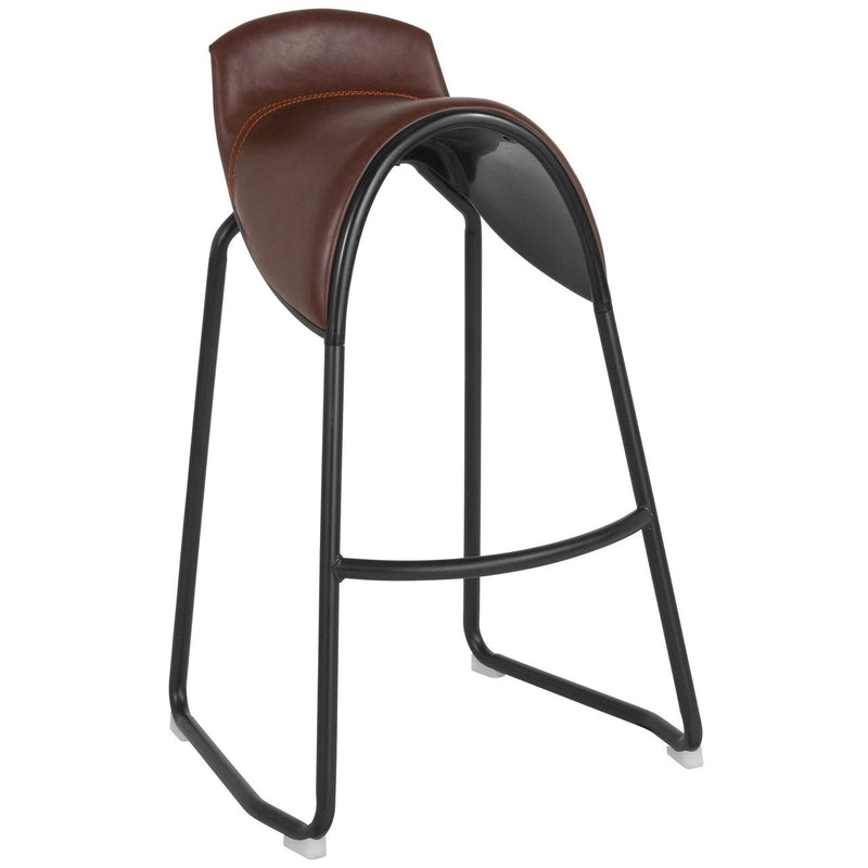Flash Furniture LF-2-166-BRN-GG Santa Fe Saddle Chair Barstool in Brown Vinyl