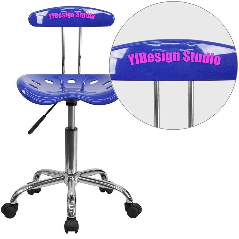 Flash Furniture LF-214-NAUTICALBLUE-EMB-VYL-GG Personalized Vibrant Nautical Blue and Chrome Swivel Task Chair with Tractor Seat