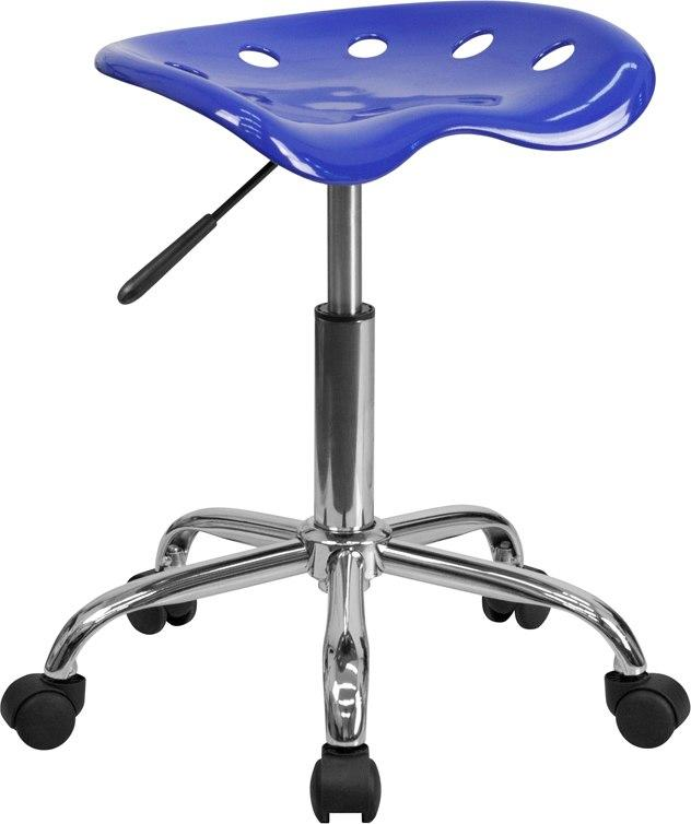 Flash Furniture LF-214A-NAUTICALBLUE-GG Vibrant Nautical Blue Tractor Seat and Chrome Stool