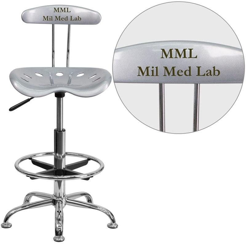 Flash Furniture LF-215-SILVER-EMB-VYL-GG Personalized Vibrant Silver and Chrome Drafting Stool with Tractor Seat