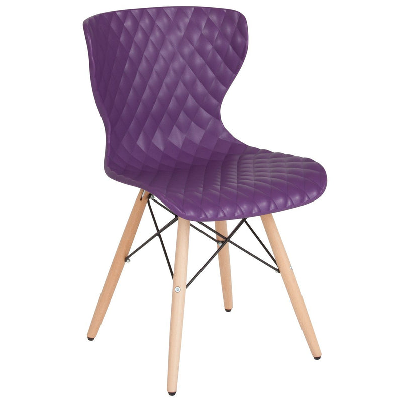 Flash Furniture LF-7-07-PUR-GG Bedford Contemporary Design Purple Plastic Chair with Wooden Legs