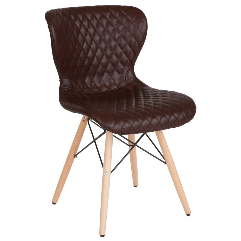 Flash Furniture LF-9-07M-BRN-GG Riverside Contemporary Upholstered Chair with Wooden Legs in Brown Vinyl