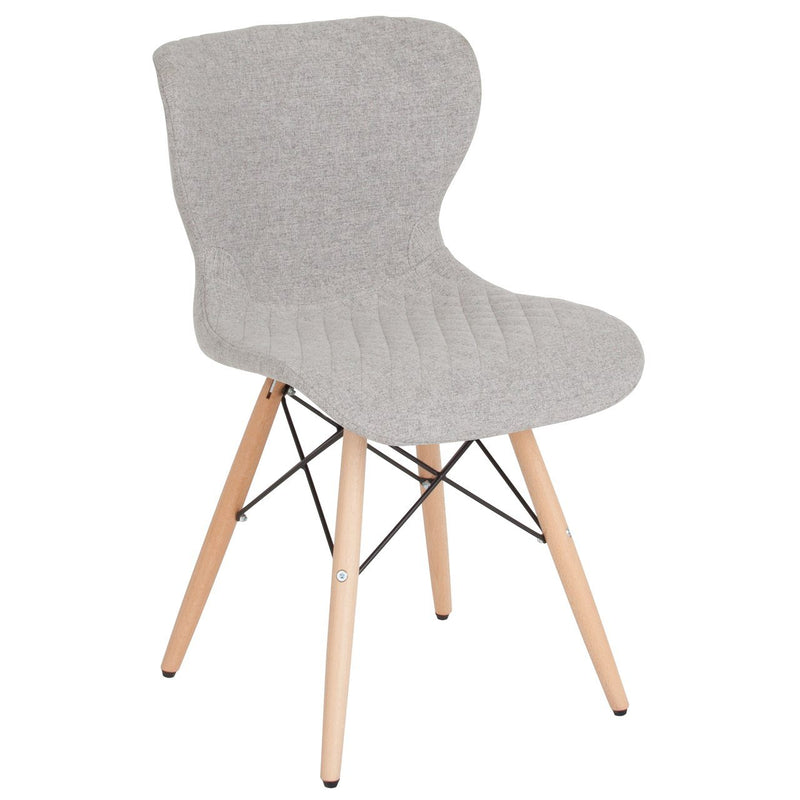 Flash Furniture LF-9-07M-LTG-F-GG Riverside Contemporary Upholstered Chair with Wooden Legs in Light Gray Fabric