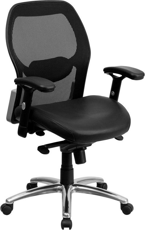Flash Furniture LF-W42-L-GG Mid-Back Black Super Mesh Executive Swivel Chair with Leather Seat, Knee Tilt Control and Adjustable Arms