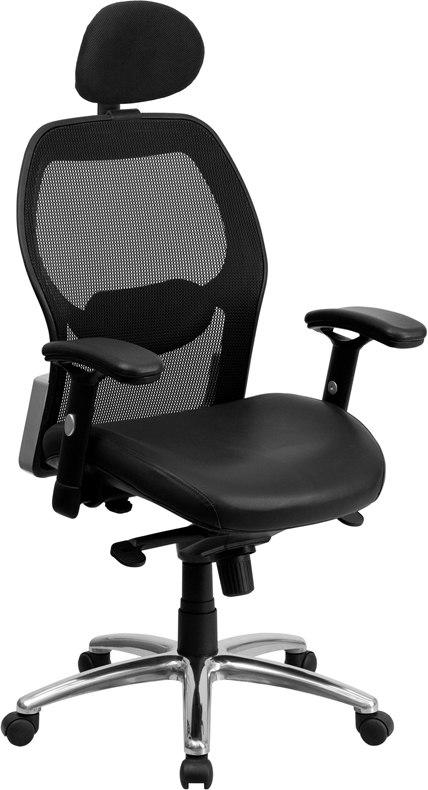 Flash Furniture LF-W42-L-HR-GG High Back Black Super Mesh Executive Swivel Chair with Leather Seat, Knee Tilt Control and Adjustable Arms