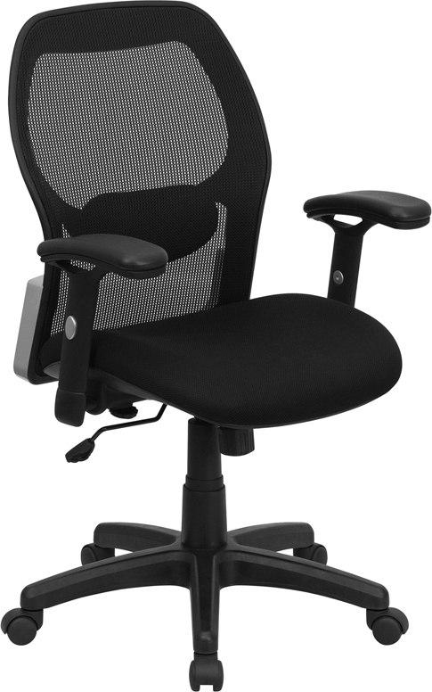 Flash Furniture LF-W42B-GG Mid-Back Black Super Mesh Executive Swivel Chair with Adjustable Arms