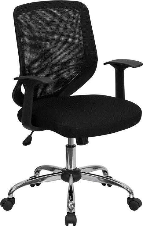 Flash Furniture LF-W95-MESH-BK-GG Mid-Back Black Mesh Swivel Task Chair with Arms