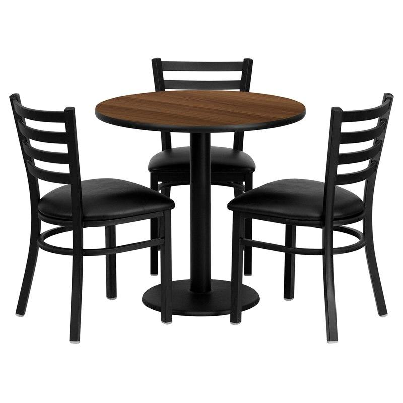 Flash Furniture MD-0002-GG 30'' Round Walnut Laminate Table Set with 3 Ladder Back Metal Chairs - Black Vinyl Seat