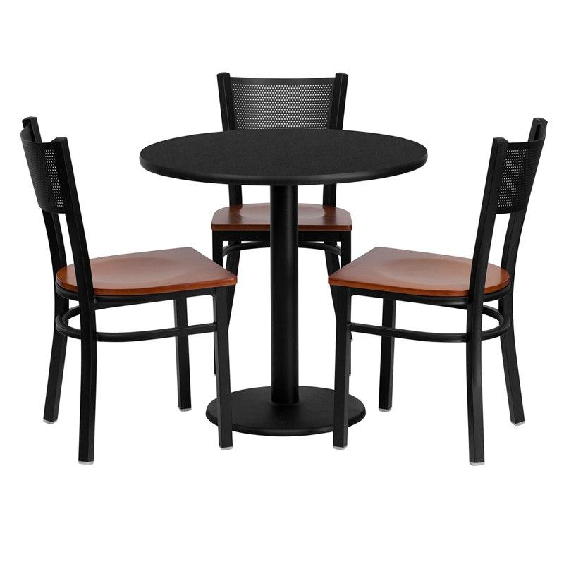 Flash Furniture MD-0007-GG 30'' Round Black Laminate Table Set with 3 Grid Back Metal Chairs - Cherry Wood Seat