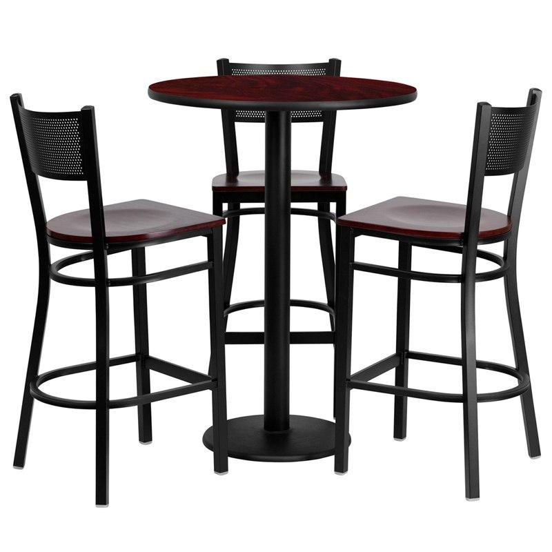 Flash Furniture MD-0017-GG 30'' Round Mahogany Laminate Table Set with 3 Grid Back Metal Barstools - Mahogany Wood Seat