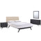 Addison 4 Piece Queen Bedroom Set in Black Beige by Modway