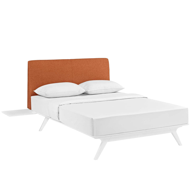 Tracy 3 Piece Queen Bedroom Set in White Orange by Modway
