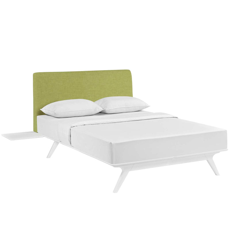 Tracy 3 Piece King Bedroom Set in White Green by Modway