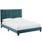 Melanie Full Tufted Button Upholstered Performance Velvet Platform Bed in Sea Blue by Modway
