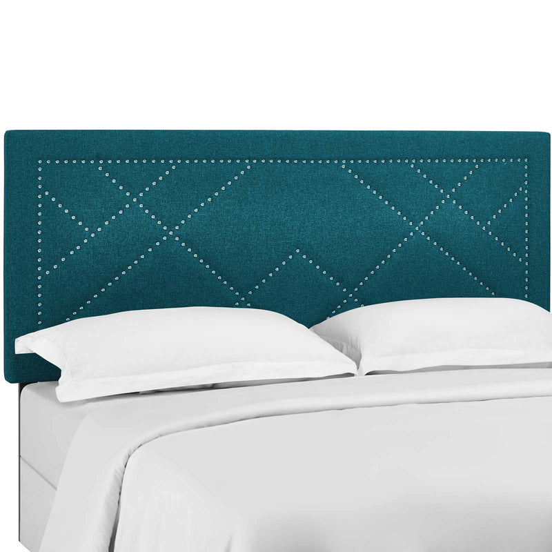 Reese Nailhead Full / Queen Upholstered Linen Fabric Headboard in Teal by Modway