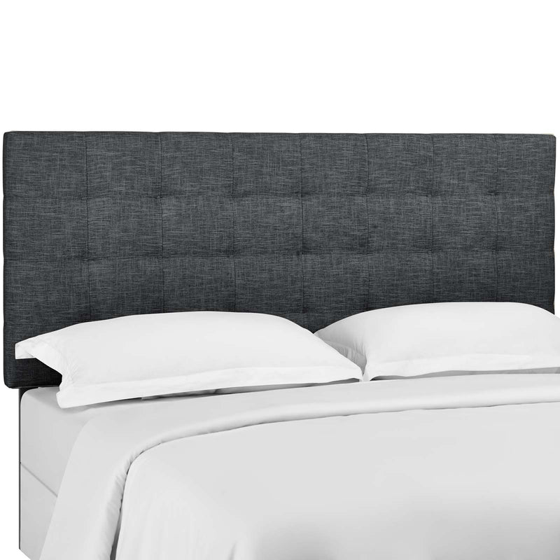 Paisley Tufted King and California King Upholstered Linen Fabric Headboard in Gray by Modway