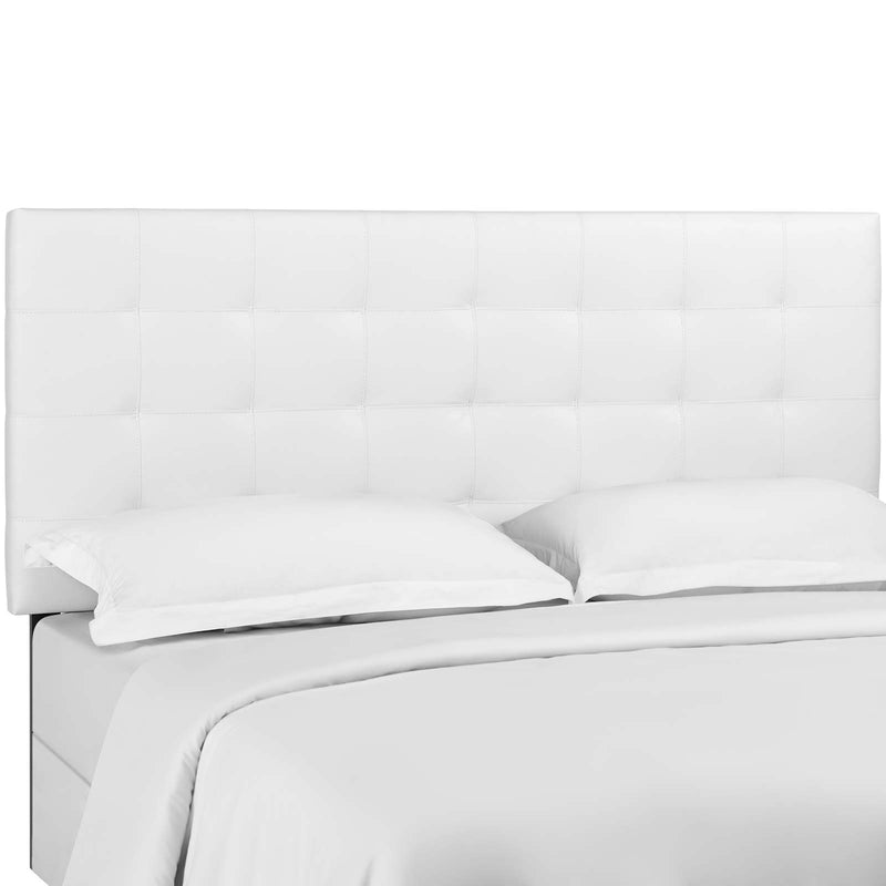 Paisley Tufted King and California King Upholstered Faux Leather Headboard in White by Modway