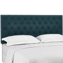 Helena Tufted Twin Upholstered Linen Fabric Headboard in Azure by Modway