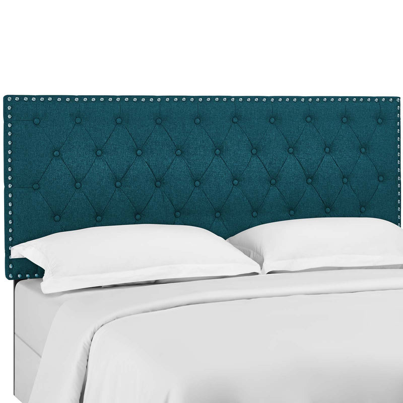 Helena Tufted King and California King Upholstered Linen Fabric Headboard in Teal by Modway