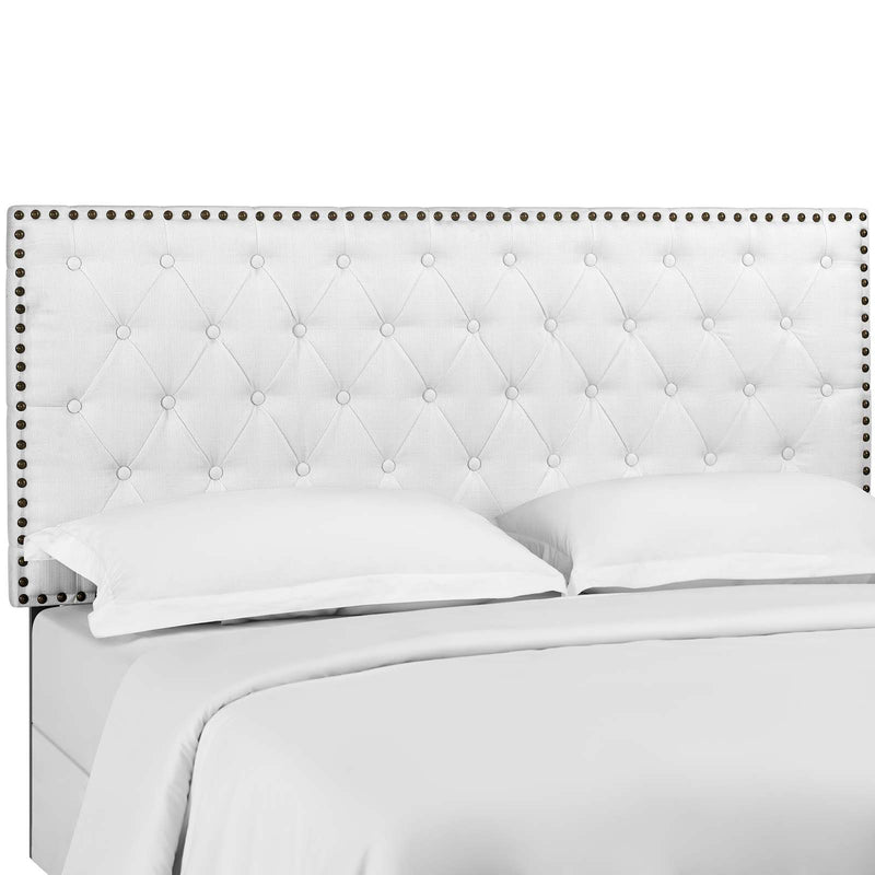 Helena Tufted King and California King Upholstered Linen Fabric Headboard in White by Modway