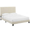 Melanie Twin Tufted Button Upholstered Fabric Platform Bed in Beige by Modway