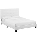 Melanie Twin Tufted Button Upholstered Fabric Platform Bed in White by Modway