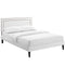 Virginia King Vinyl Platform Bed with Squared Tapered Legs in White by Modway