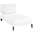 Ruthie Twin Vinyl Platform Bed with Squared Tapered Legs in White by Modway