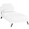Corene Twin Vinyl Platform Bed with Round Splayed Legs in White by Modway