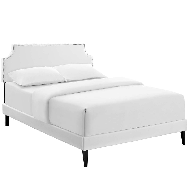 Corene King Vinyl Platform Bed with Squared Tapered Legs in White by Modway