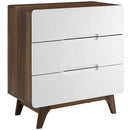 Origin Three-Drawer Chest or Stand in Walnut White by Modway