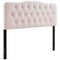 Modway Annabel King Diamond Tufted Performance Velvet Headboard in Pink