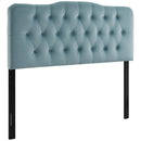 Modway Annabel Queen Diamond Tufted Performance Velvet Headboard in Light Blue