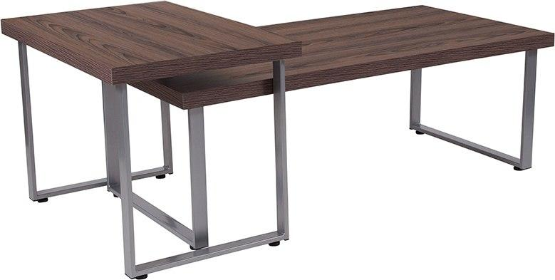 Flash Furniture NAN-JH-1730-GG Roslindale Rustic Wood Grain Finish Coffee and End Table with Silver Metal Legs
