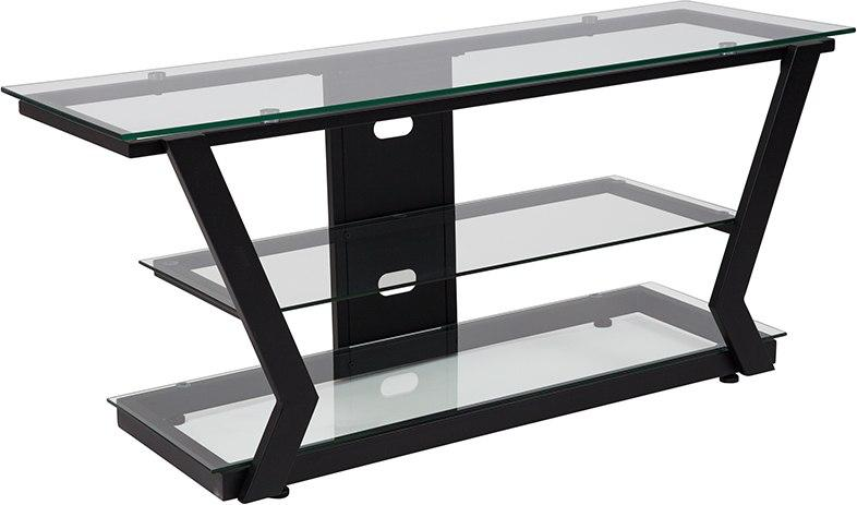 Flash Furniture NAN-JH-1760-GG Harbor Hills Glass TV Stand with Black Metal Frame